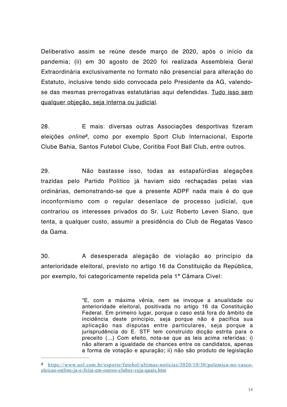 No item 29, Salgado diz que Leven Siano tenta assumir a presidência do Vasco a qualquer custo