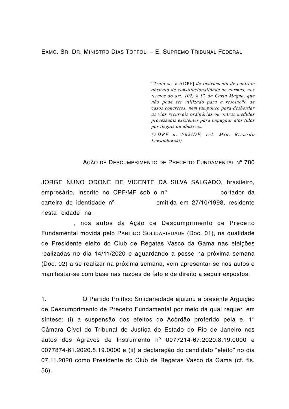 Petição Jorge Salgado STF Vasco página 1